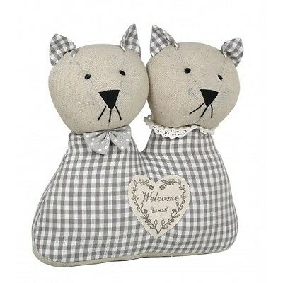 Grey and White Mr And Mrs Cat Door Stop