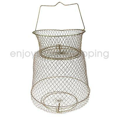 Portable Steel Fish Cast Net Cage Collapsible Fish Storage Tackle 30cm Gold