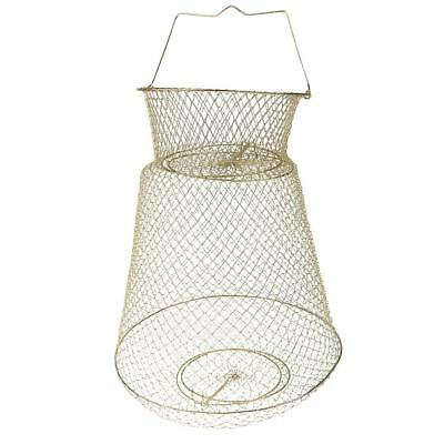 Collapsible Fish Basket Lobster Crawfish Trap Hoop Net Handle 38cm