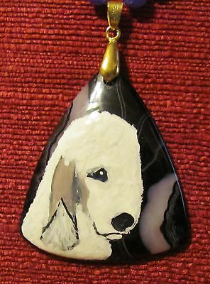 Bedlington Terrier hand painted on a triangular shaped Onyx Agate pendant/bead/n