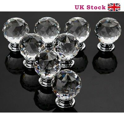 8 X 30MM Clear Diamond Crystal Glass Door Knobs Handles Drawer Cabinet Kitchen
