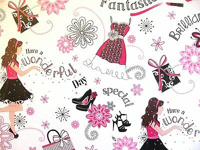 2 Sheets Teenage Girl Wrapping Paper - Birthday, Gift, Present (033)