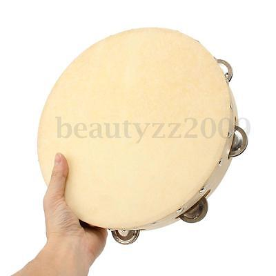 10'' Wood Tambourine W/ 8 Bell Percussion Musical Instrument Kid Educational Toy