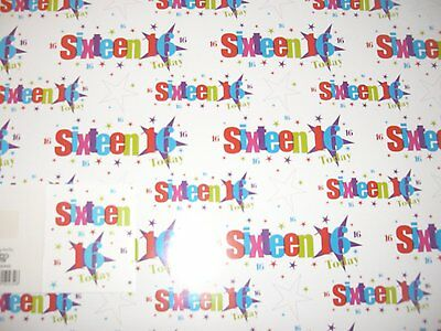 2 SHEETS 16, 16th WRAPPING PAPER & 1 GIFT TAG - BIRTHDAY, GIFT, PRESENT (049)