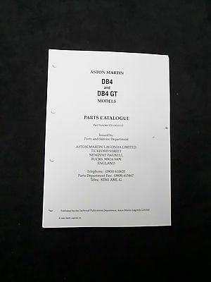 Aston Martin DB4 & DB4 GT parts book