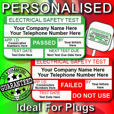 Electrical Pat Test Labels PERSONALISED - 520 Passed & 65 Failed     FOR PLUGS!