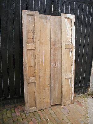 Pair of original stripped pine Victorian window shutters