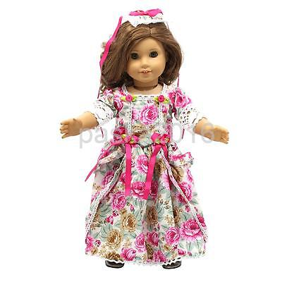 Fashion Floral Dress & Headband Outfit For 18'' American Girl Doll Accessory