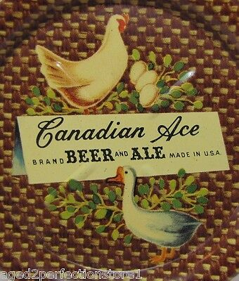Old Canadian Ace Beer and Ale 'Chicken Eggs & Duck' Adv Tin Tip Tray made in USA