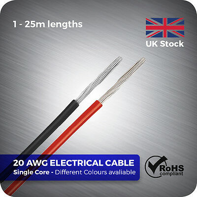 1 - 25 metre 20 AWG Flexible single core Electrical stranded Wire Cable for DIY