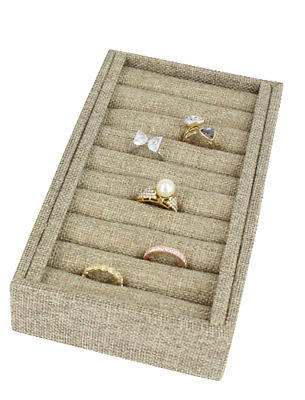 Modern Burlap 9 Tufted Ring Tray Showcase Bangle Display Ring/cuff Bracelet