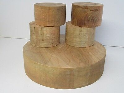5 Pack Soft Maple Wood Bowl Turning Blanks (3'' x  4 1/2'' and 12'')