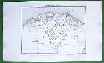 1859 ANTIQUE MAP Original - Upper Egypt Delta of Nile River