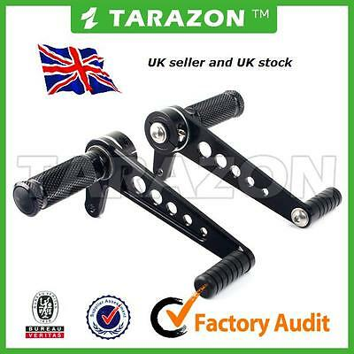 Universal rear sets rearsets cafe racer aluminium anodised black