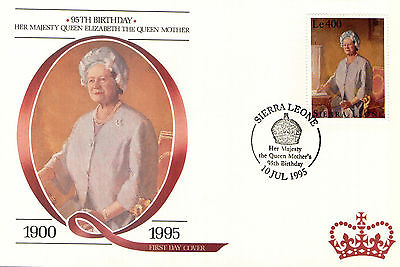 (88227) Queen Mother FDC: 95th Birthday - Nevis 1995.