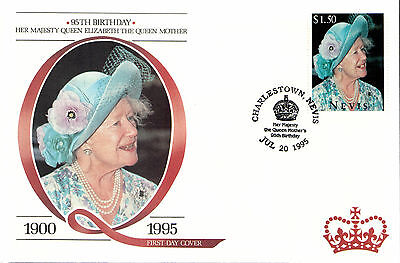 (88229) Queen Mother FDC: 95th Birthday - Nevis 1995.