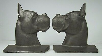Old Great Dane Boxer Dog Bookends unusual htf figural cast metal book ends