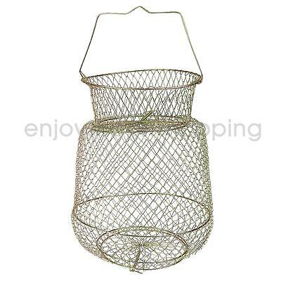 Portable Steel Fish Cast Net Cage Collapsible Fish Storage Tackle 25cm Gold