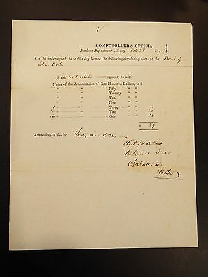 Banking Department Albany Comptroller Accounting Document 1842