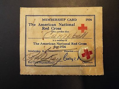 The American National Red Cross Membership Card and Pin 1936