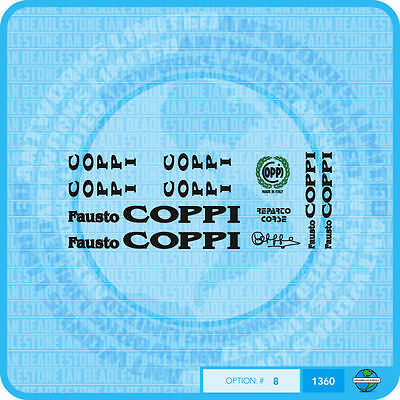 0316 Coppi Bicycle Stickers Decals Transfers