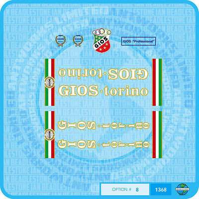 Sticker Transfer Set 11 Gios Torino Compact Plus Tubing Bicycle Decal