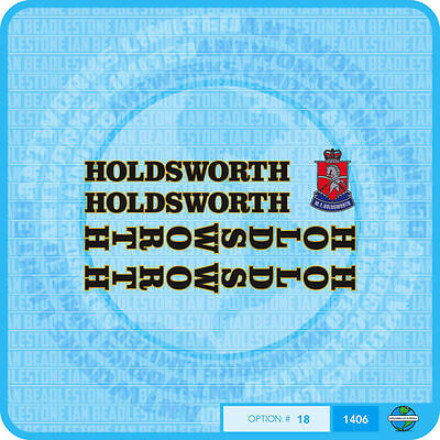 Set 14 Holdsworth White With Gold Key Bicycle Decals Transfers Stickers