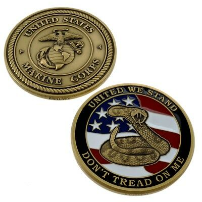 USMC Challenge Coin Marine Corps Don't Tread on Me Large United We Stand Emblem