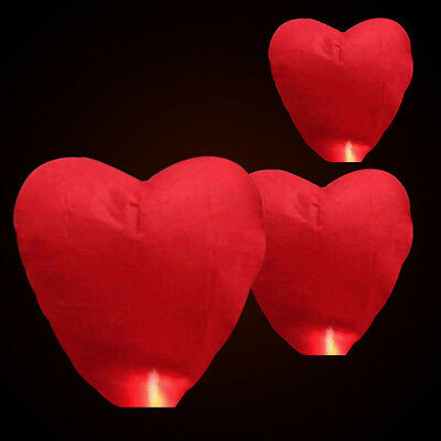 Heart Paper Chinese Lanterns Sky Fly Candles Lamps Wishing Party Lovely