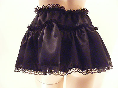 "Sissy Adult Baby Fancydress Black Satin Micro Mini Skirt 11""long Sml &plus Sizes"