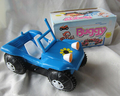 Vintage Flip Over Buggy BLUE battery opperated car 1970s COMPLETE w box RETRO