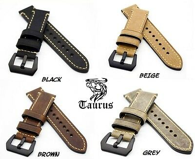 Taurus® 22mm 24mm Genuine Calf Leather Watch Band Strap PreV PVD Black Buckle