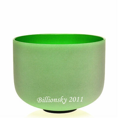Perfect Pitch Frosted F Heart Chakra Green Colored Crystal Singing Bowl 20 cm