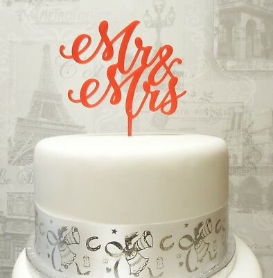 Mr and Mrs Cake Topper, Various colours available!! Acrylic cake topper monogram