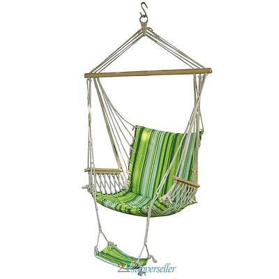 Garden Patio Hanging Rope Swing Chair Seat Hammock Bench Swinging With Foot Rest