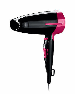 1600W COMPACT FOLDING ULTRA TRAVEL DUAL VOLTAGE HAIR DRYER BLOWER (black)