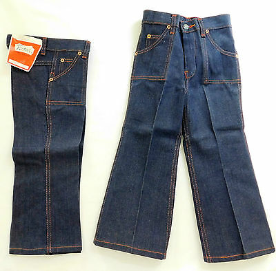 Flared denim jeans UNUSED vintage 1960s 1970s unshrunk Young children's sizes