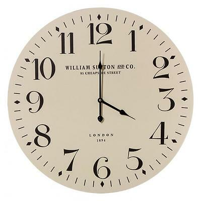 Classic Country Shabby Chic Style WILLIAM SUTTON WALL HANGING CLOCK Cream