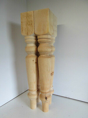 "Set of 4 Solid Knotty Pine Wood Turned Harvest Table Legs (4"" x 4"" x 29"")"