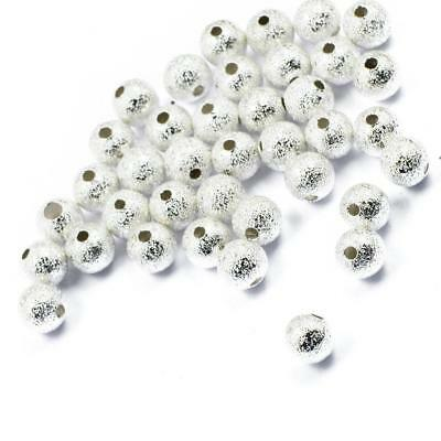 Lot Of 50pcs Beads 6mm Round Spacer Beads Silver Jewelry Making DIY