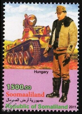 WWII Hungary Fighter Squadron Lieutenant Uniform Stamp / 38M Toldi Light Tank