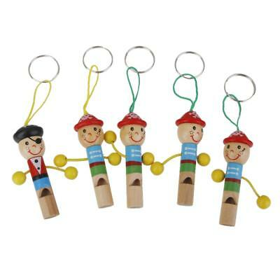 5pcs Lovely Pirate Wooden Whistle w Keyring Key Chain Kids Toy Party Favour Gift