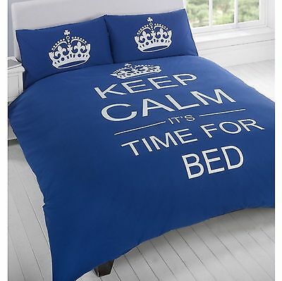 Keep Calm & Carry On 'It's Time For Bed' Double Duvet Cover Set New (FREE P+P)