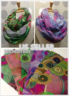 USWholesaler-12PC-AssortedColor-cute multi-color circle Soft Infinity Scarf