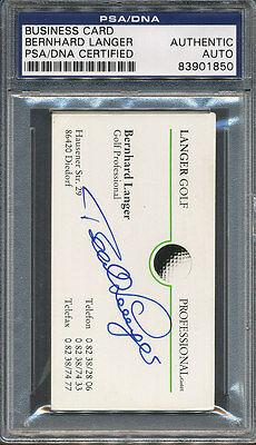 Bernhard Langer Signed Business Card PSA/DNA Certified Authentic Auto *1850