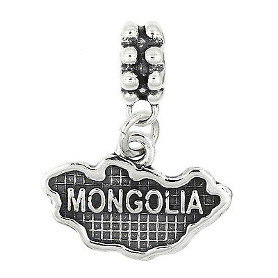 STERLING SILVER TEXTURED COUNTRY MAP OF GUATEMALA DANGLE BEAD CHARM