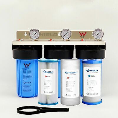 Whole House Water Filter System 10''x4.5''Big Blue Triple (3 stages)  NSF FILTER