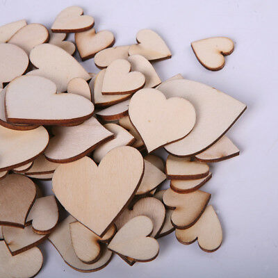 80pcs Wooden Heart Wood Pieces Painting DIY Cardmaking Scrapbooking 2-6cm