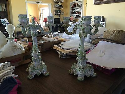 pair antique Dresden china candelabra,11 inch,3 arm,apple green