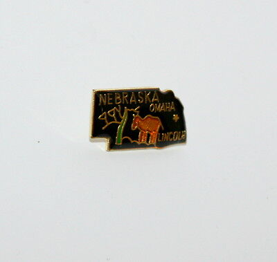Vintage State Of Nebraska Tourist Map Lapel Pin Tie Tac 1980s New NOS